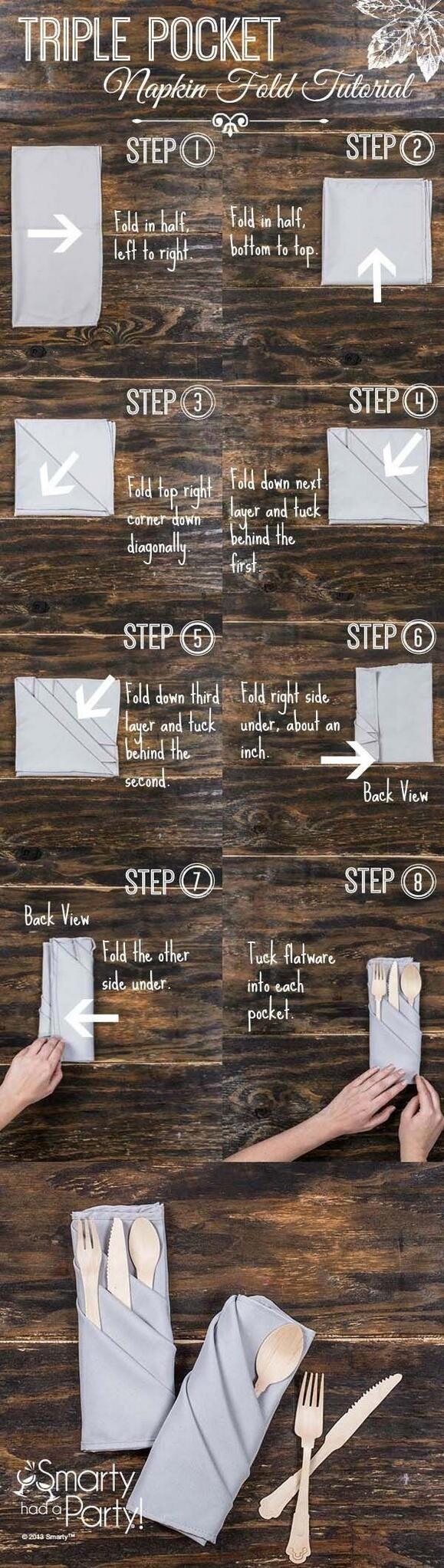 Skládání ubrousku / Triple Pocket Napkin Fold ...
