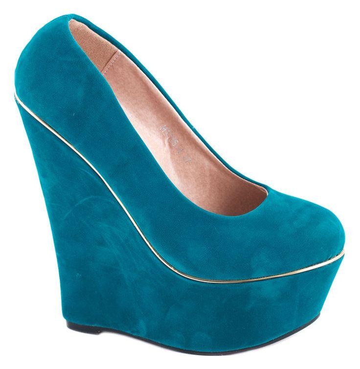 Pantofi cu platforma - Pantofi albastri cu platforma H1136-4A - Zibra