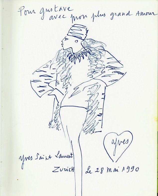 Sketch by Yves Saint Laurent for Gustav Zumsteg, 1990, courtesy of Hulda and Gustav Zumsteg Foundation, Zurich