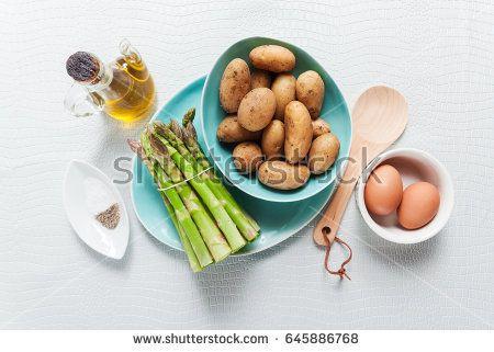 Food ingredients on the kitchen table. Healthy eating. Vegetarian gourmet cuisine