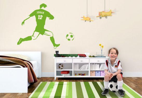 Muursticker Voetballer + Naam - wall-art.nl
