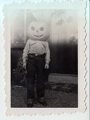 1930s-1940s HALLOWEEN Photo *BOY WITH PUMPKIN HEAD* JACK ...