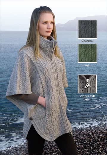 New for Fall - Irish Knit Zip Poncho with Trinity Knot Zipper Pull, made in Ireland