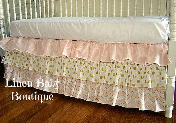 Pink and Gold Bumperless Baby Bedding Custom Crib by LinenBaby