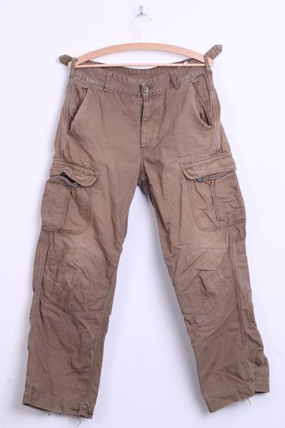 Levis Mens S Khaki Trousers Jeans Militias Cotton Pockets Washed Look - RetrospectClothes
