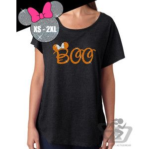 Glitter Disney Halloween Shirt Minnie Boo Tri Blend Dolman Tee 67-00-60 Vintage Black orange/whi