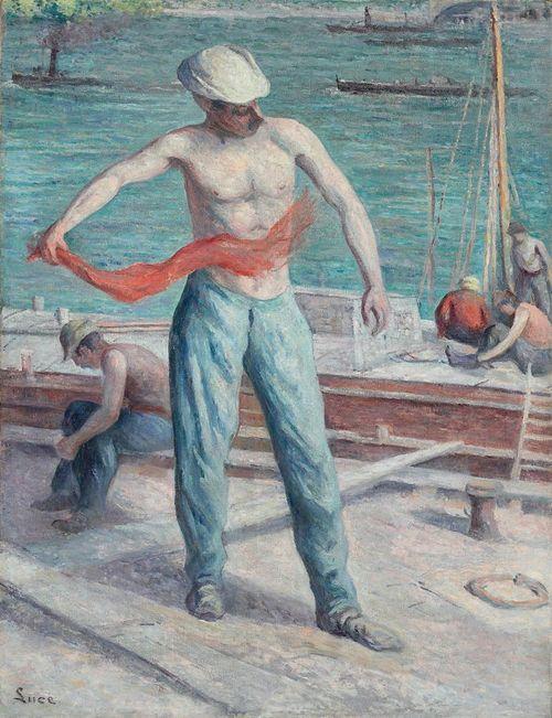 Maximilien Luce (French, 1858-1941), Le débardeur [The docker]. Ol on canvas, 116.2 x 89.5 cm.