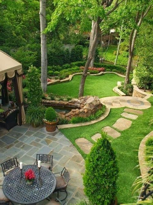 Little bit of everything,  yard,  walkway, covered patio + dining area.