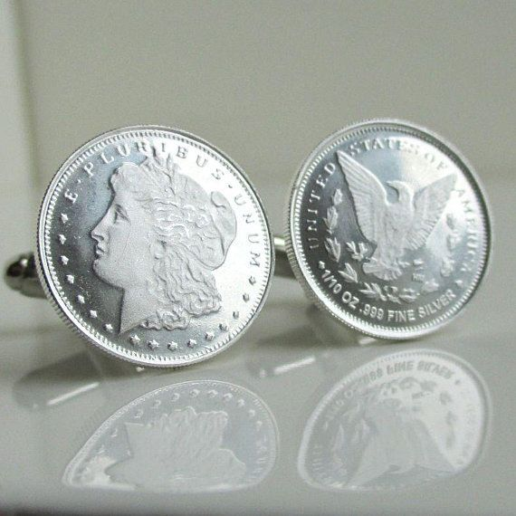 999 Silver Coin Cuff Links Repurposed Morgan Dollar 1 10 Oz Sterling Coins Silver Rounds Cufflin Silver Coins Silver Rounds