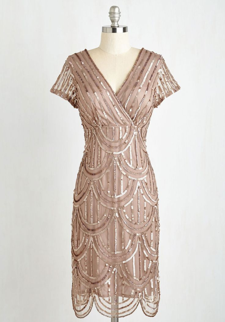 Cascading Cava Dress in Taupe. You feel bubbly and beautiful as you mingle in this art-deco-inspired dress! #tan #modcloth