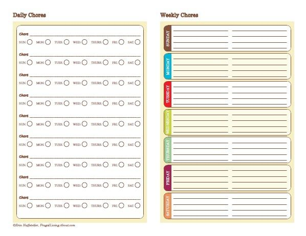 free multiple child chore chart printable picture | Daily/Weekly Chore Chart
