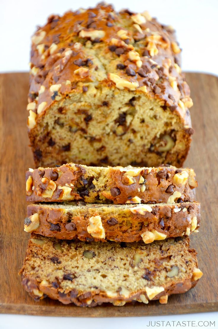 The Ultimate Moist Banana Bread recipe justataste.com | Preheat your oven for a quick-fix #recipe for moist banana bread loaded with chopped walnuts and chocolate chips.