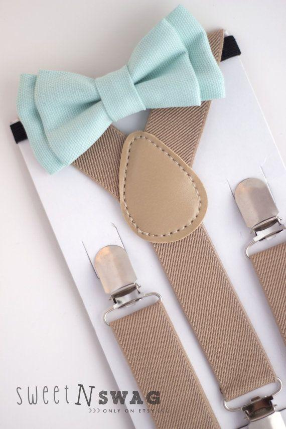 SUSPENDER & BOWTIE SET. Newborn - Adult sizes. Beige / Tan suspenders. Mint bow tie