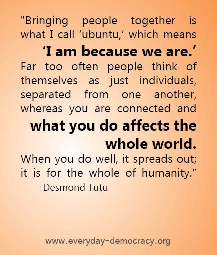 Ubuntu! Being of South African origin, I love this! More so, because I love that all of you come by each day, making up my little Wisies com… | Frases | African quotes, Desmond tutu quotes, Inspirational quotes