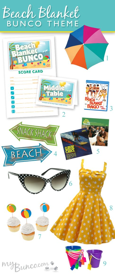 Beach Blanket Bunco - a Retro, 1960s beach party theme for your next bunco party.