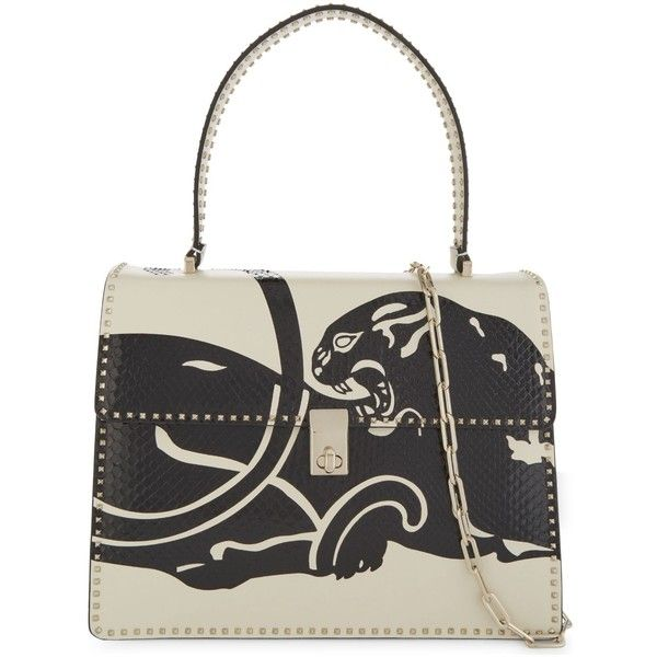 Valentino Panther print leather and snakeskin tote ($3,270) ❤ liked on Polyvore featuring bags, handbags, tote bags, shoulder strap purses, white leather handbags, leather tote handbags, leather tote bags and genuine leather tote