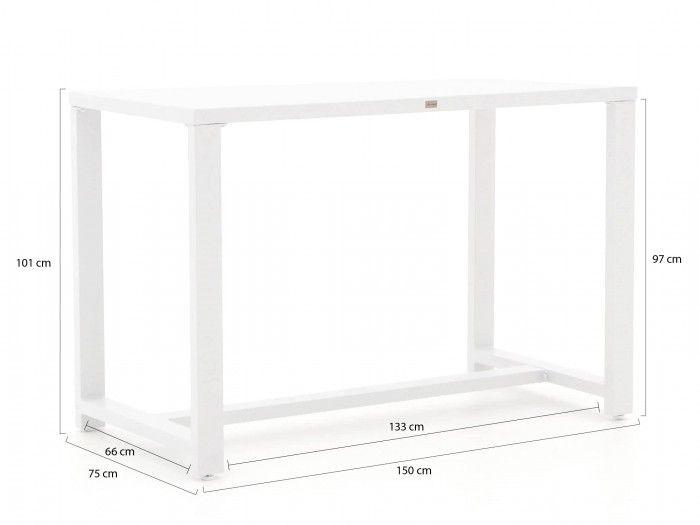 Tafel 150x75cmx101 cm hoog/aluminium wit/prijs per tafel EUR