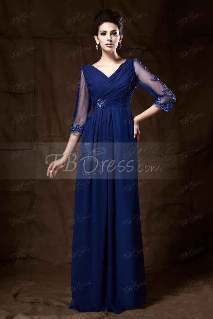 Tbdress.com offers high quality V-neck Cropped A-line V-neck 3/4-sleeves Long Mother of the Bride Dress Vintage Mother Dresses  unit price of $ 112.99.