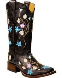 Corral Girls' Multi-Color Embroidery Cowgirl Boots - Square Toe,