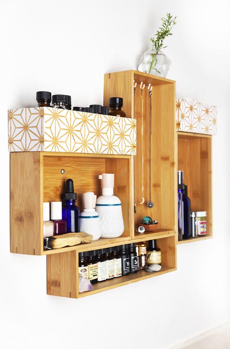 Diy Wood Drawer Wall Shelf Bamboo Drawer Organizers