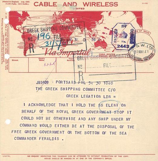 Document and telegrams referring to the requisition of Greek #steamship ./ Τηλεγράφημα σχετικό με την επίταξη ελληνικού ατμοπλοίου.