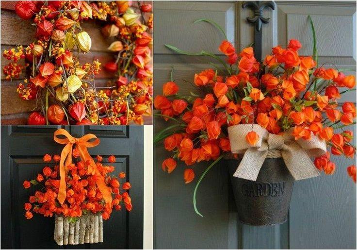 Türkranz aus orangenfarbenen Lampionblumen Physalis