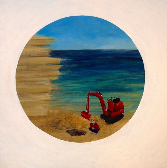 artwork for children - fun! all little boys dream love digging the biggest holes in the sand