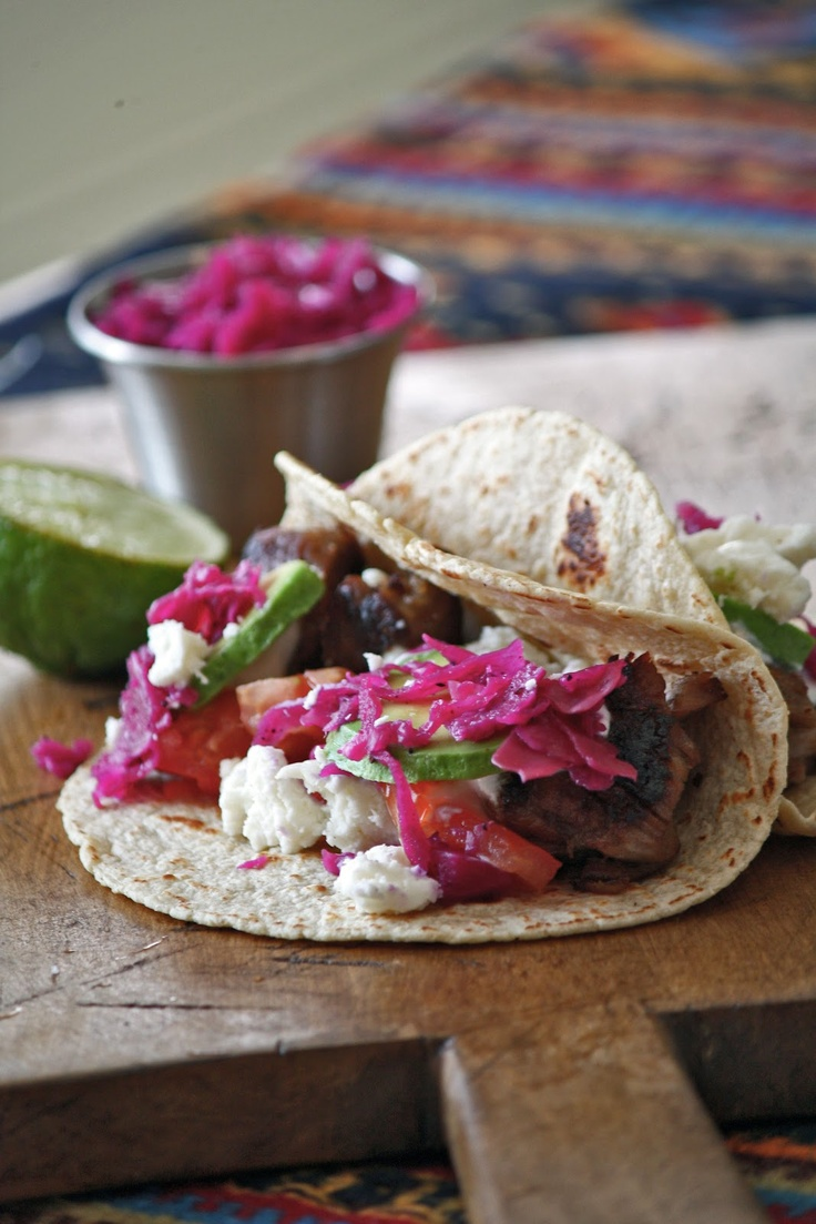 Beer Braised Carnitas Tacos with Pickled Red Cabbage