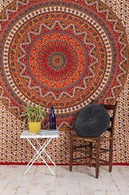 Rawyal- Orange Elephant Mandala Tapestry ,Indian Tapestry , Hippie Tapestries, Wall Tapestries, Tapestry Wall Hanging, Indian Tapestry, Bohemian Bedding Psychedelic tapestry