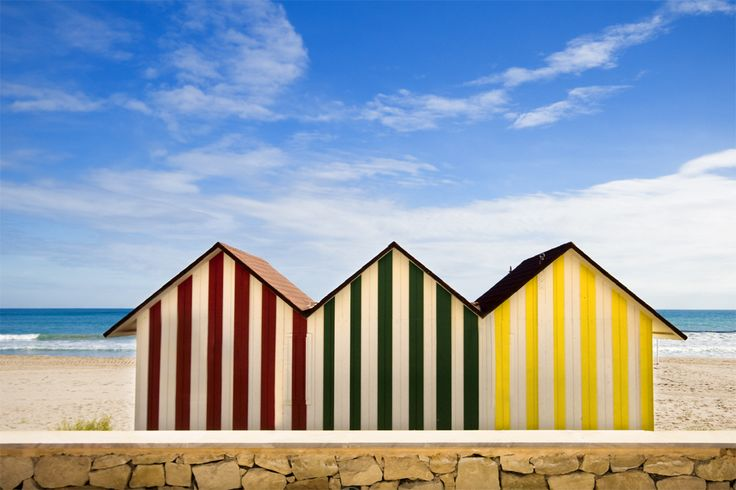 Beach huts in El Campello, Alicante, Spain