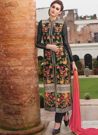 Wonderful Black Embroidery Work Georgette Churidar Suit  #Suits #Anarkali #Salwar   http://www.angelnx.com/Salwar-Kameez