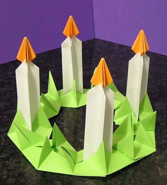 Adventi koszorú | Magyar Origami Kör