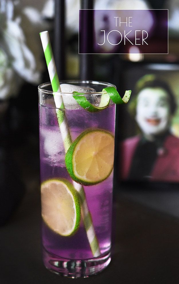 The Joker 3 oz. grape Jolly Rancher-infused vodka (see below) ¼ oz. lime juice Seltzer