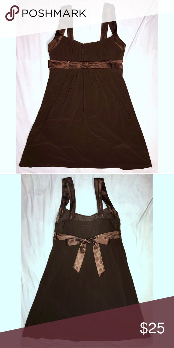 Brown Formal Dress A lovely chocolate brown with a silk waist tie. Super comfortable and cute!! Like new. Junior sizing is XL, adult might fit similar to a Large. OBO Dresses Prom