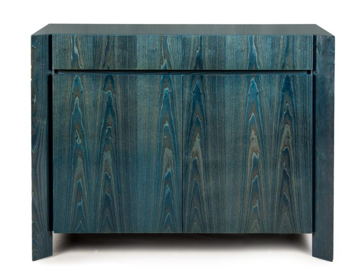 August 2013 Antique Auction- Lot 1541  Pace Collection blue stained wood cabinet shaped front, single drawer over two cabinet doors, stained wood with with lacquer, 36 in., 48 in. W., 22 in. D