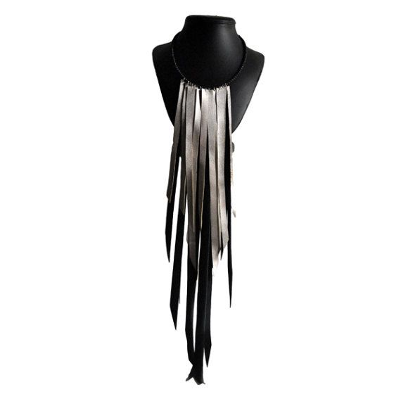 Fringe Leather Necklace Silver 40 € -  Fringe Leather Jewelry by RiciclAr