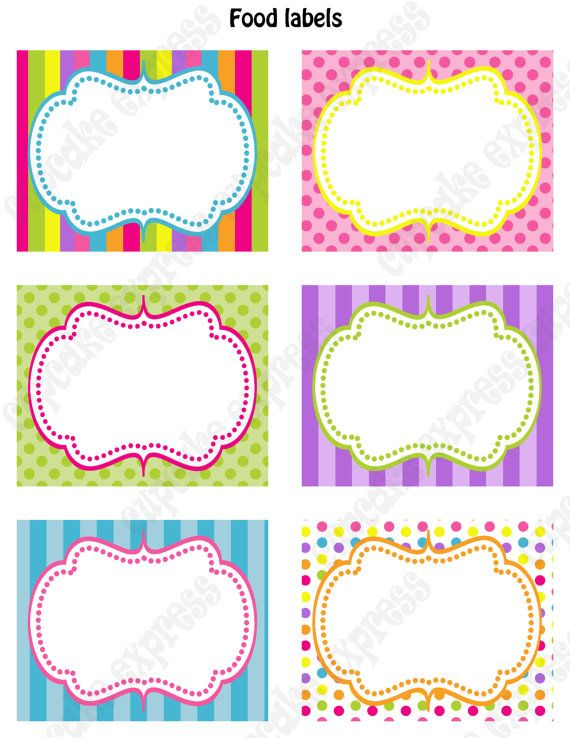 Food or party favor labels for candy shoppe birthday party