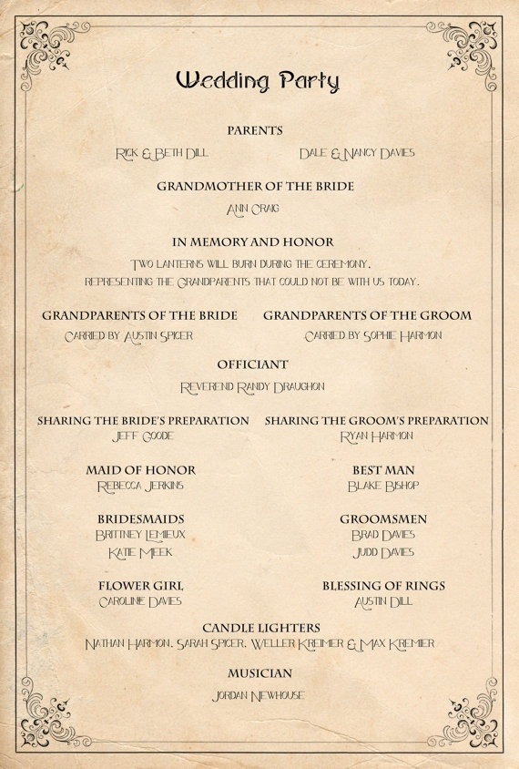 Retro Wedding Program - Order of service ceremony ...