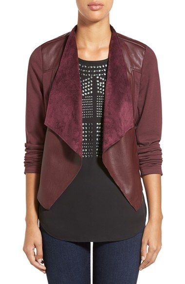 Free shipping and returns on KUT from the Kloth 'Lincoln' Faux Leather Drape Front Jacket at Nordstrom.com. Supple faux leather backed with faux suede cascades down the draped front and back yoke of a knit jacket for a delightfully edgy attitude.