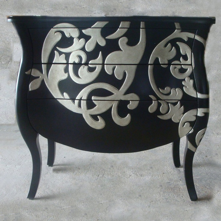 Navy blue and white!!  Ultimate Accents 52107BB Contempo Bombay Entry Table, Black - Home Furniture Showroom