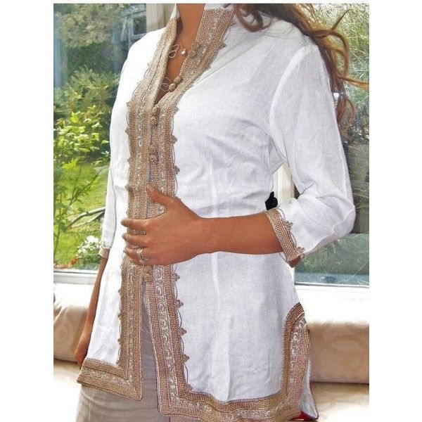 Autumn Dress 25 Off Autumn Shirt Handmade White & Gold Moroccan Tunic... ($64) ❤ liked on Polyvore featuring tops, tunics, silver, women's clothing, long short sleeve shirts, short sleeve button shirt, white button shirt, long white shirt and embroidered shirts