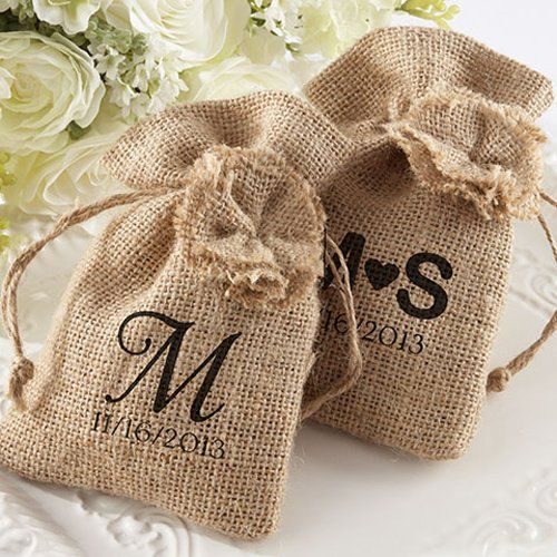Personalized Burlap Favor Bags with Drawstring Ties - perfect rustic wedding favors