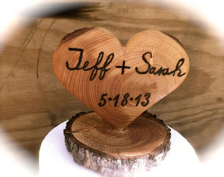 Wedding Cake Topper Wooden Heart