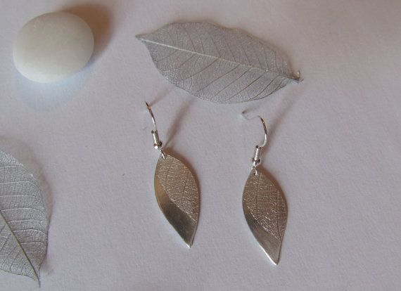 Large leaf imprinted silver earrings by Silverlines on Etsy