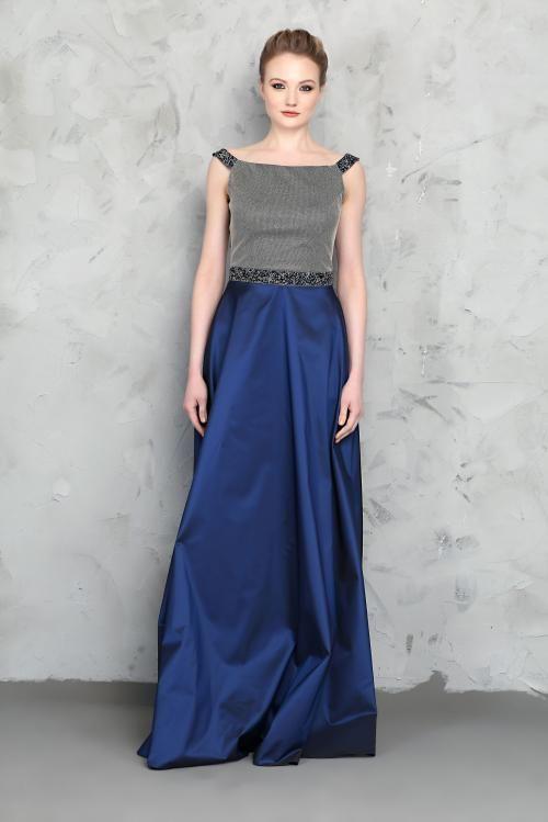 Saks Mavisi Üst Kısmı Gri Parlak Detaylı Abiye Elbise - Fotoğraf