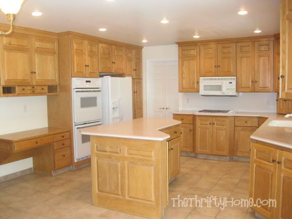 The thrifty home kitchen remodel painting cabinets for Can you paint kitchen cabinets without sanding them
