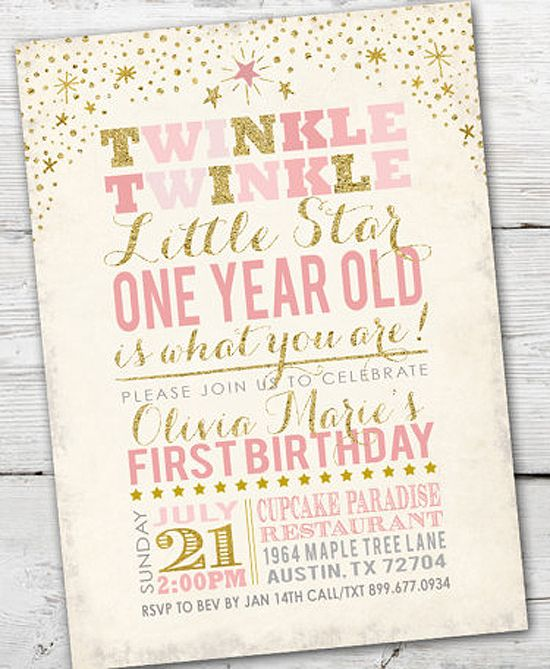 Party by Number: ONE - Halfpint Design - Great first birthday party invitation ideas....Twinkle twinkle little star, one year old is what you are