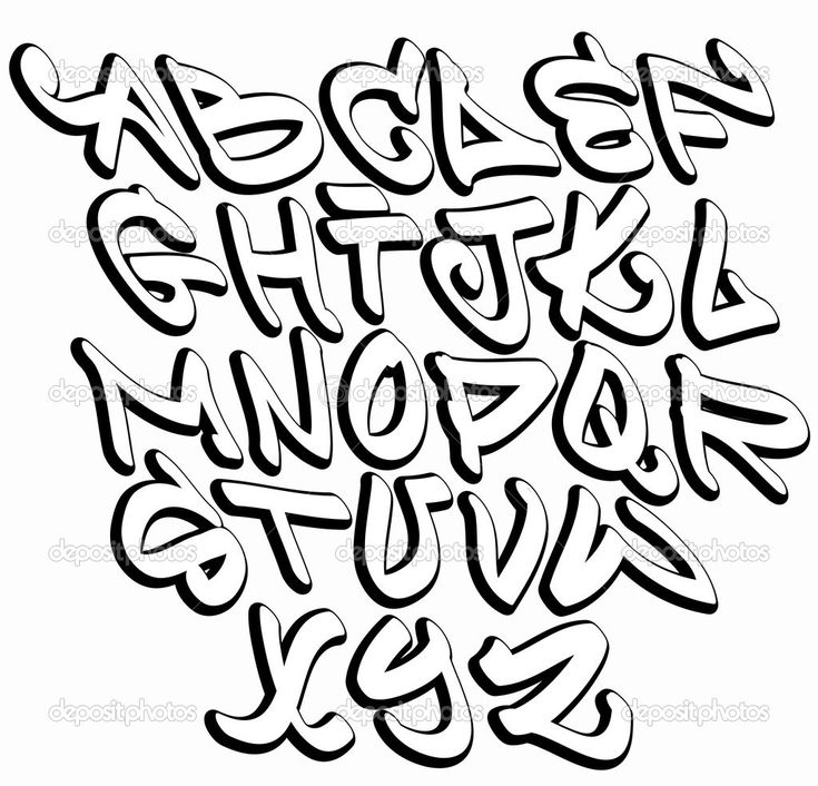 Hip Hop Graffiti Fonts | Graffiti font alphabet letters. Hip hop type grafitti design | Stock ...