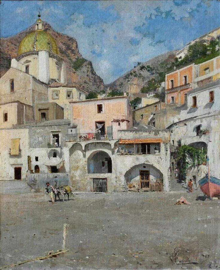 OK - La piazza a Positano, olio su tela di cm 62 x 50 by Vincenzo Caprile (Naples, 1856 – Naples, 1936)