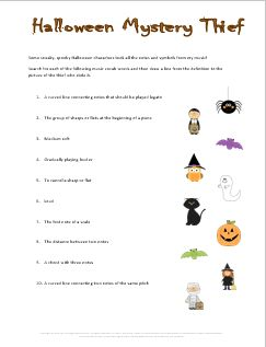 music vocabulary worksheet and game for halloween there are several fun halloween worksheets on this site but i especially like the halloween mystery